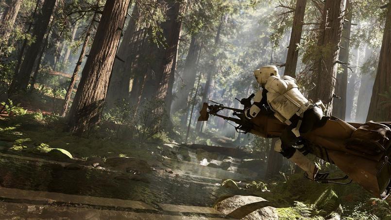Une séquence  Star Wars Battlefront d'une dizaine de minutes, montrée à quelques journalistes privilégiés, révèle un peu ce qui attend les joueurs en novembre. On y suit un rebelle évoluant avec ses coéquipiers dans la forêt mythique de la lune-planète d'Endor.
