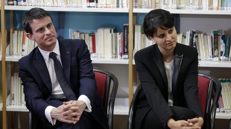 Najat Vallaud-Belkacem et Manuel Valls rencontrent des élèves aux lycée Léon Blum de Créteil