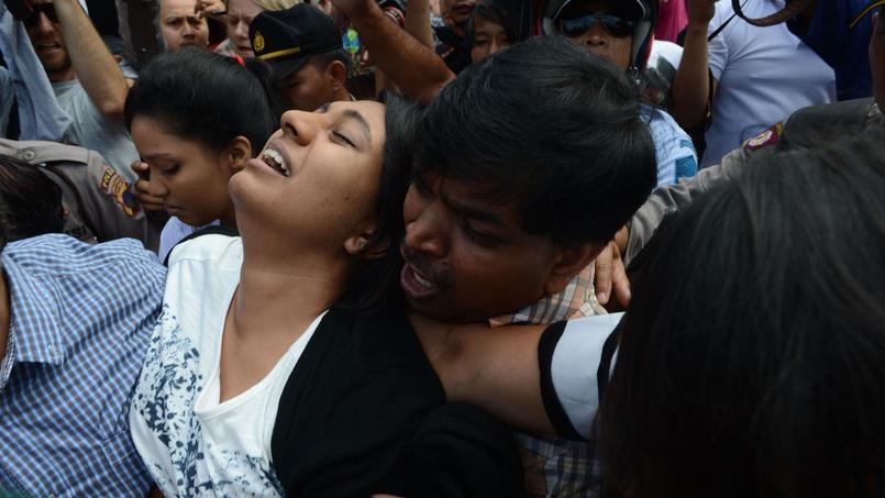 La douleur de Brintha Sukumaran, la soeur d'un condamné australien, ce mardi.