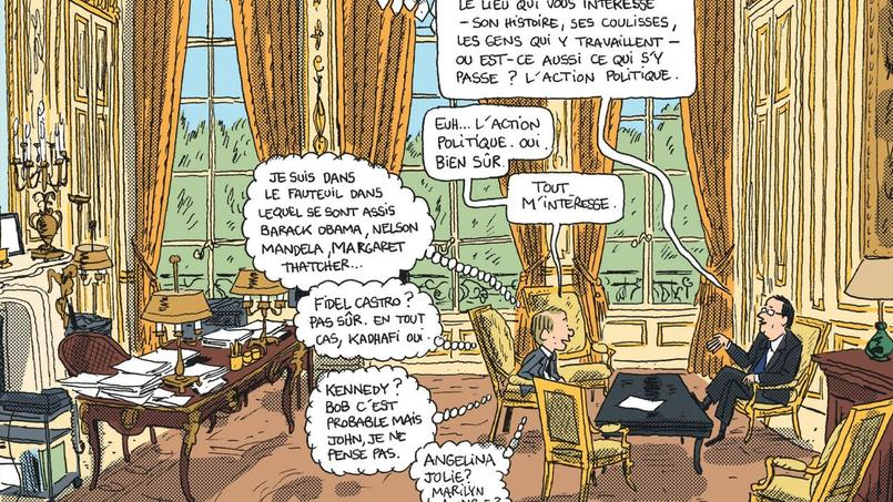 Entre Juillet 2013 et le 15 juin 2014, Mathieu Sapin, crayon à la main et toutes écoutilles ouvertes a fait partie du décor de l'Élysée.