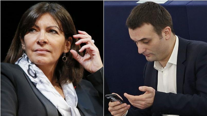 La maire socialiste de Paris, Anne Hidalgo et le vice-président du FN, Florian Philippot