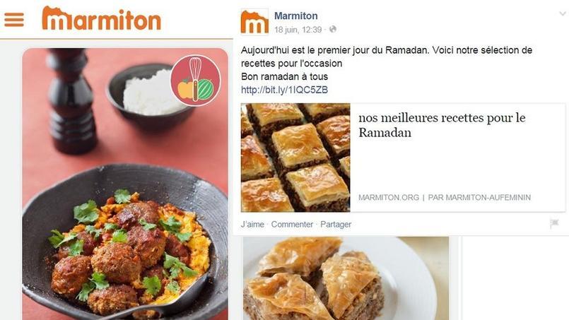 Message Facebook posté par le site Marmiton.org jeudi et capture d'écran d'une page du site Internet. Montage réalisé par Le Figaro.fr.