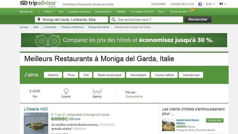 Capture d'écran de la page restaurants TripAdvisor à Moniga del Garda (Lombardie).