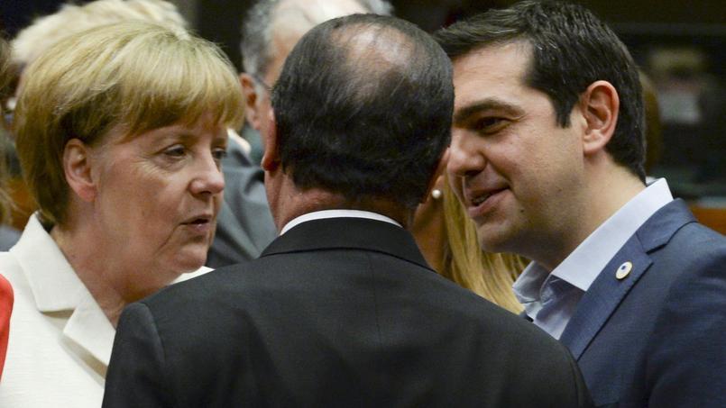 Angela Merkel, François Hollande et Alexis Tsipras lors du sommet européen de Bruxelles, le 12 juillet 2015