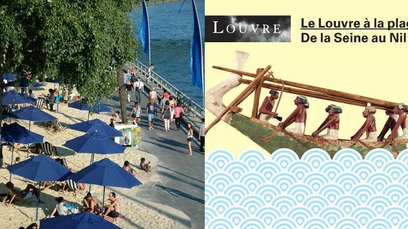 Le slogan de l'exposition est clair: «Le Louvre à Paris Plages. Embarquez pour un voyage de la Seine au Nil!» à Paris Plage .