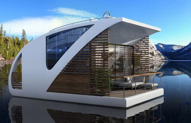 Une partie fixe sert de point d'arrimages à tous les appartement-catamarans.