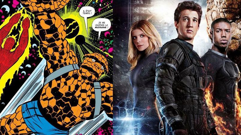 Les Quatre Fantastiques selon Jack Kirby (à gauche), et au cinéma (à droite).