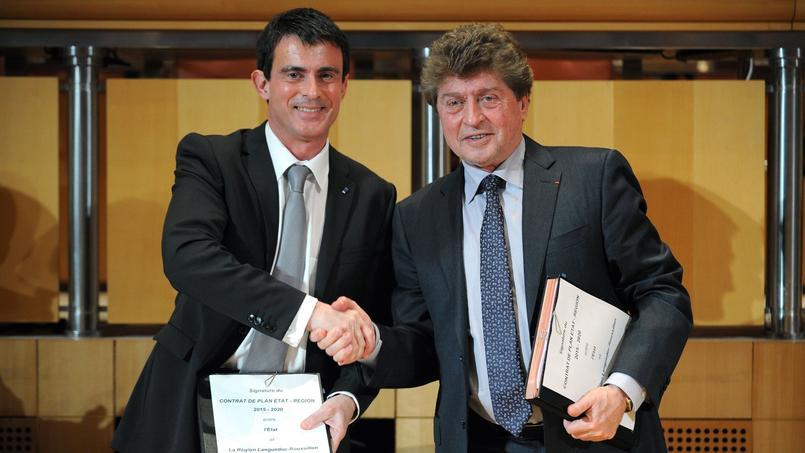 Manuel Valls et le président (PS) sortant de la région Languedoc-Roussillon Damien Alary