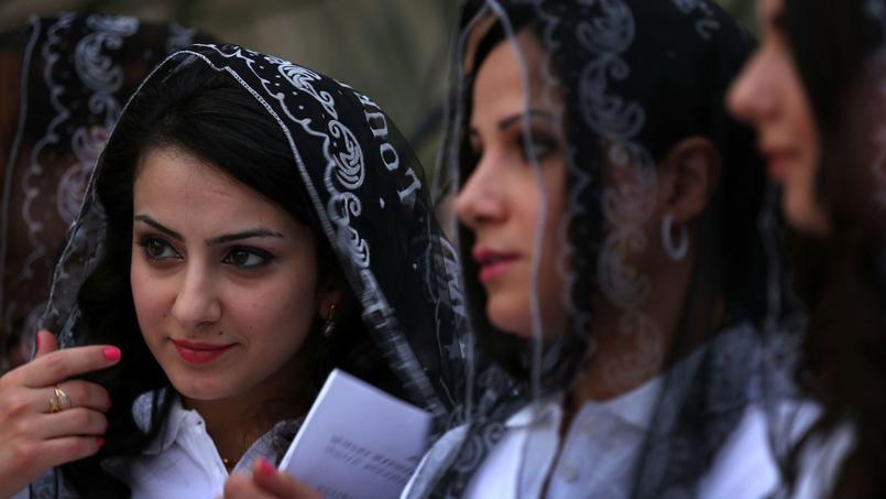 Déplacées chrétiennes qui ont fui Mossoul, le 31 mai 2015 à Erbil en Irak.