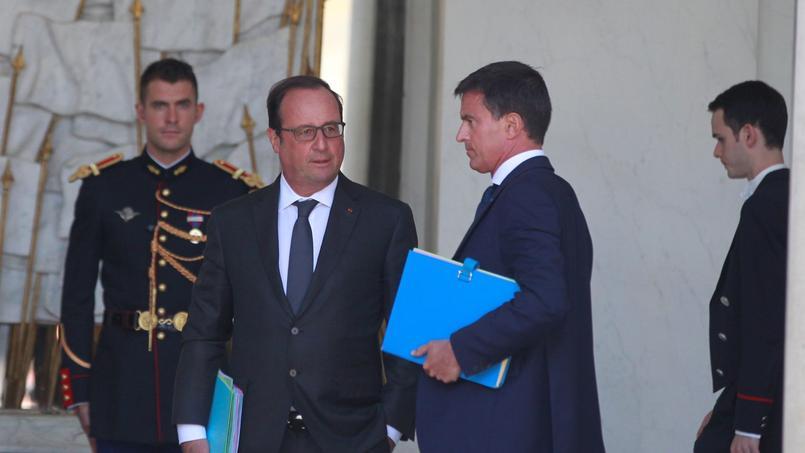 François Hollande et Manuel Valls, en août à l'Elysée, après le conseil des ministres de rentrée.