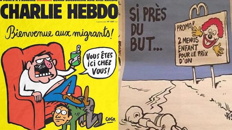 A gauche, une de Charlie hebdo du 9 septembre. A droite: le dessin de Riss qui fait polémique.(source: Twitter)
