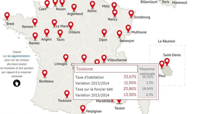 Toulouse est de loin la ville où la pression fiscale locale s'est le plus accentuée cette année. Pour voir tous les détails, consultez la carte interactive ci-dessous.