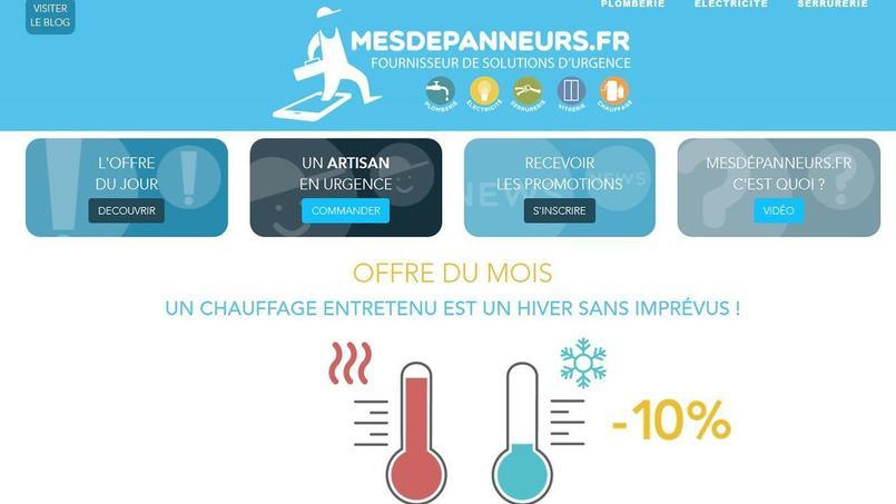 Capture d'écran du site internet Mesdepanneurs.fr.