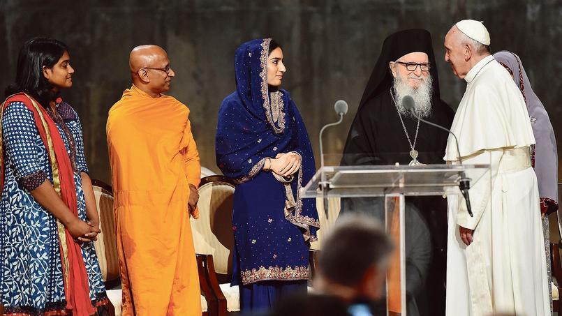 Le pape François, vendredi à New York, lors d'une cérémonie interreligieuse en hommage aux victimes du 11Septembre.