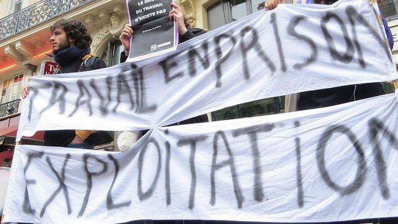Manifestation pour protester contre les conditions de travail en prison. (Photo creative common Flickr/Laetitiablabla.)