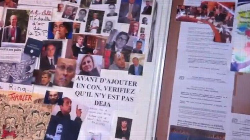 Le «Mur des cons» sur lequel étaient placardées des photos de nombreuses personnalités politiques.