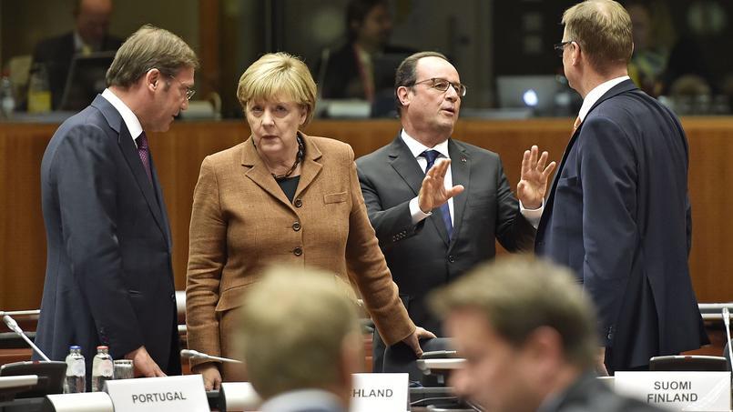 Réunion à la Commission européenne - Pedro Passos Coelho, Premier ministre portugais ; Angela Merkel, chancellière allemande ; François Hollande, président français ; Juha Sipila, Premier ministre finlandais