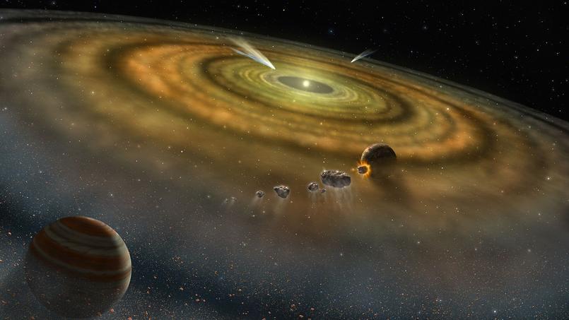 Vue d'artiste d'un système solaire en formation.