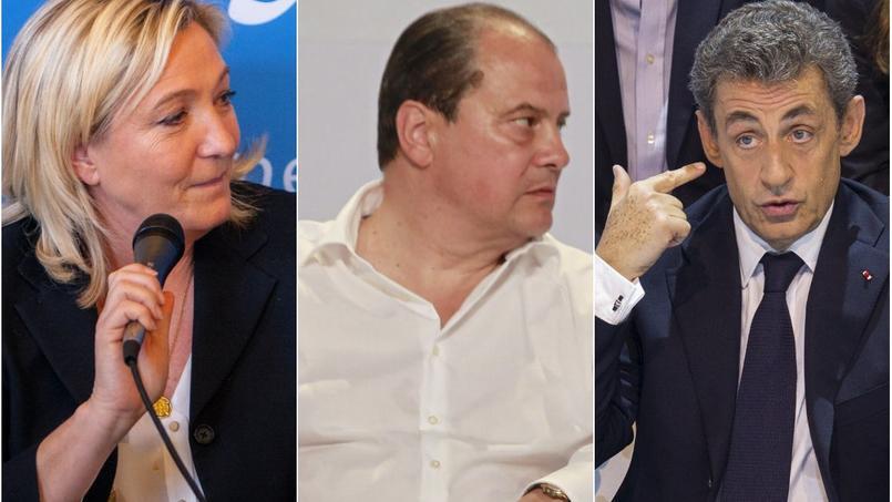 Marine Le Pen (FN), Jean-Christophe Cambadélis (PS) et Nicolas Sarkozy (LR)
