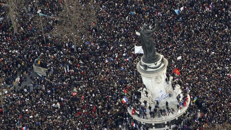 Manifestation place de la République à Paris le 11 janvier 2015. - Crédits photo: KENZO TRIBOUILLARD/AFP