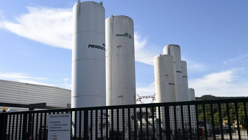 L'usine Air Products, spécialisée dans la production de gaz industriels, où la tête d'un employeur a été accrochée à un grillage.