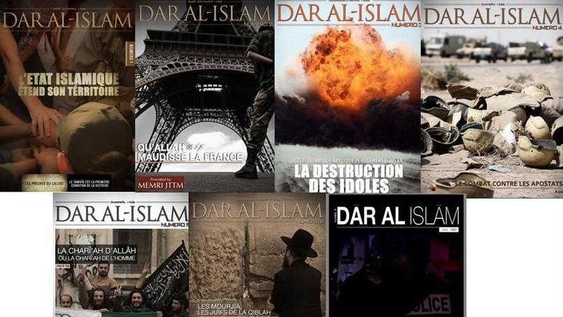 Les 7 numéros de Dar-al-Islam, le magazine de l'EI en français.