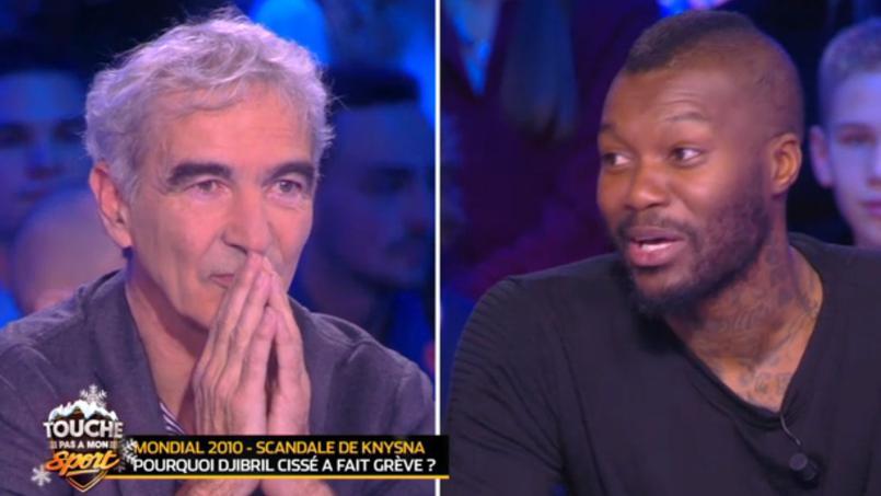 Raymond Domenech face à Djibril Cissé dans l'émission Touche pas à mon sport.