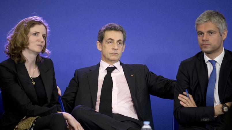 Nathalie Kosciusko-Morizet, Nicolas Sarkozy et Laurent Wauquiez à Paris, le 8 avril 2015.