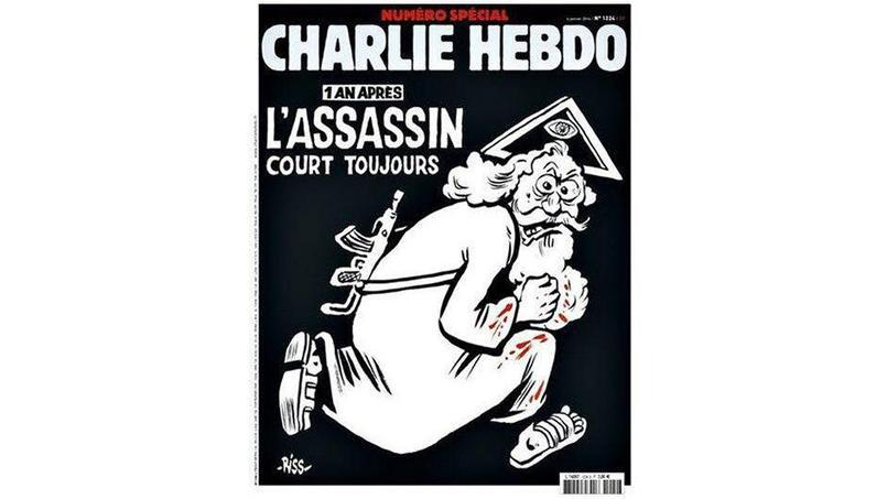 La une de Charlie Hebdo, un an après les attentats qui ont décimé la rédaction.