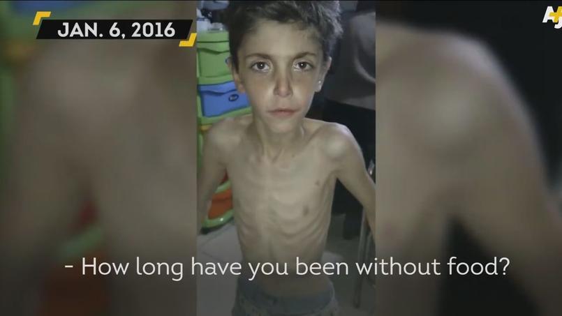 Capture d'écran du témoignage vidéo d'un enfant syrien de Madaya, qui explique ne pas avoir mangé depuis sept jours.