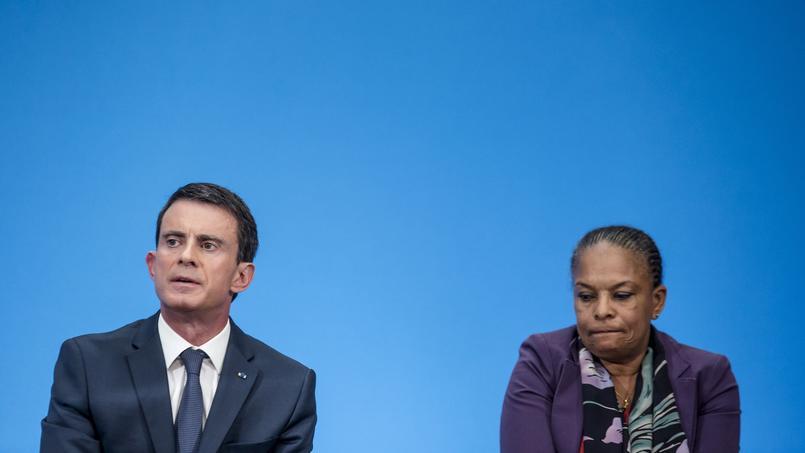 Manuel Valls et Christiane Taubira à l'Élysée, le 23 décembre 2015.