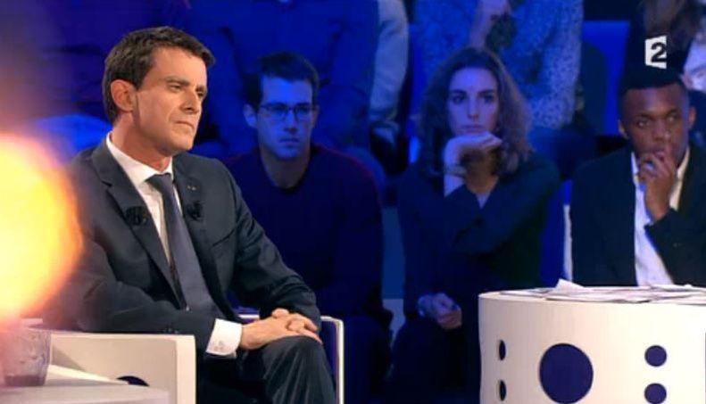 Manuel Valls sur le plateau d'On n'est pas couché, le 16 janvier 2016.