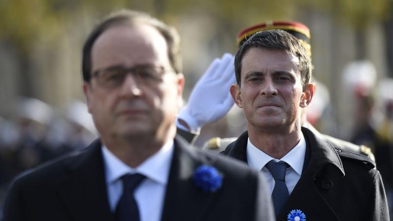 Manuel Valls et François Hollande à Paris, le 11 novembre 2015.