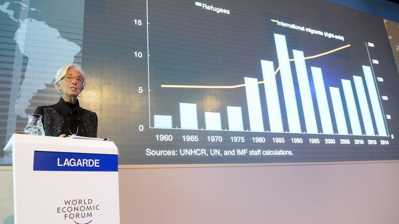 Christine Lagarde présente son rapport consacré à l'afflux de réfugiés, au Forum économique mondial de Davos (Suisse)