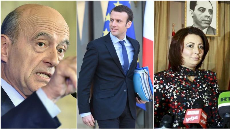 De droite à gauche: Alain Juppé, Emmanuel Macron, Wided Bouchamaoui