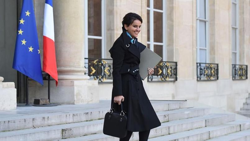 Najat Vallaud-Belkacem, la ministre de l'Éducation nationale, à la sortie de l'Élysée.