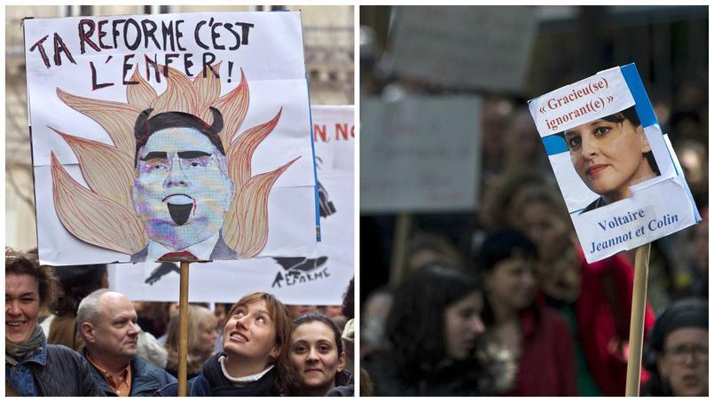 A gauche, manifestations contre les réformes portées par Claude Allègre en 1998 ; à droite, manifestation contre la réforme du collège portée par Najat Vallaud-Belkacem en mai 2015