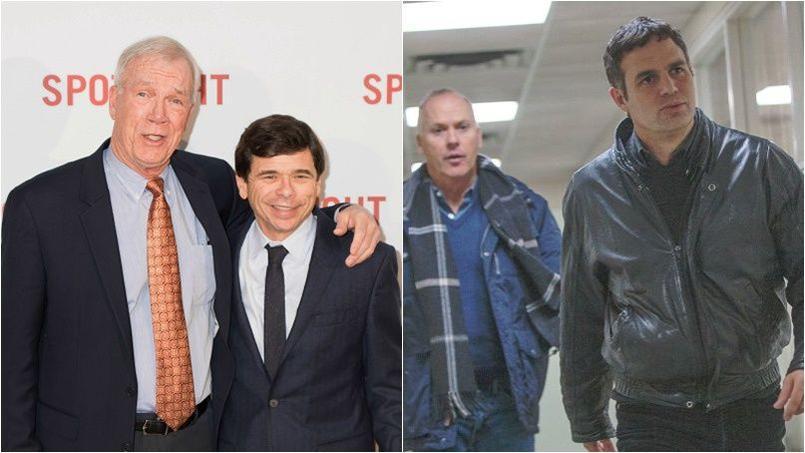 Les journalistes Walter V. Robinson et Mike Rezendes dont l'enquête est restrancrite au cinéma, dans Spotlight.