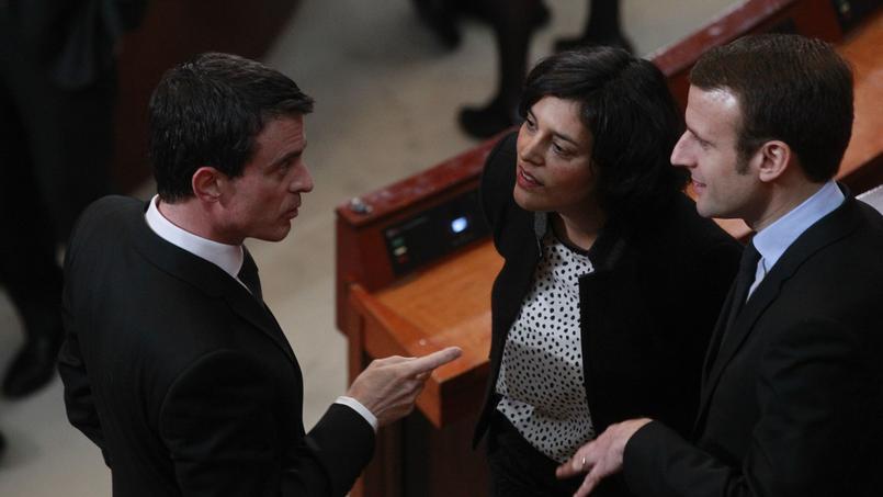 Le premier ministre Manuel Valls et le ministre de l'Economie Emmanuel Macron