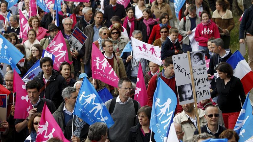 Manifestation à Paris le 26 mai 2013 de la «Manif pour tous» contre la loi Taubira qui autorise le mariage pour tous.