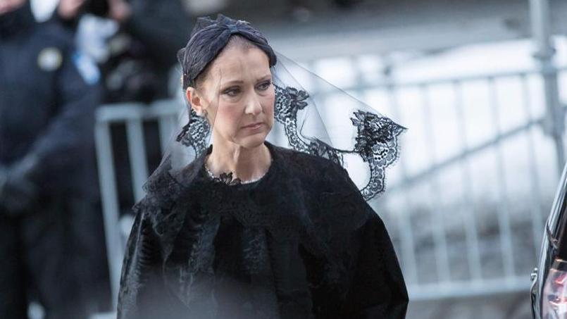 Céline Dion lors des obsèques de son mari, le 22 janvier à Montréal.