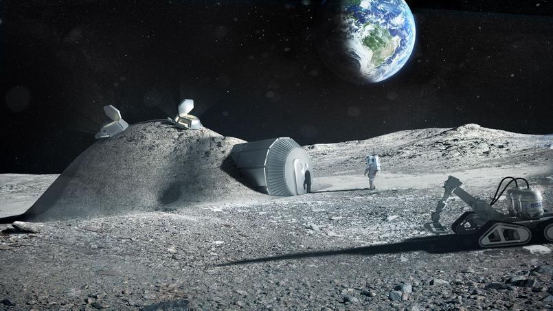 Vision d'artiste d'une base lunaire imaginée par l'Agence spatiale européenne (ESA)