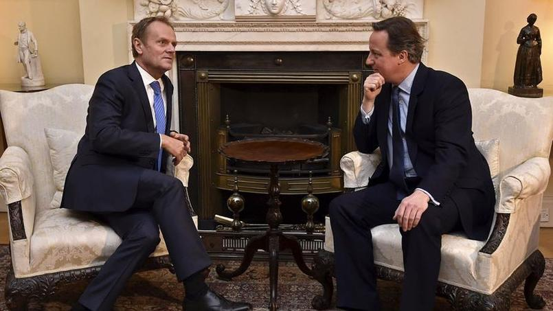 Conversation, dimanche à Londres, entre le président du Conseil européen, Donald Tusk, et le premier ministre britannique David Cameron.