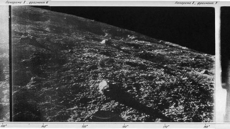 Section du premier panorama de la surface de la Lune renvoyé par la sonde soviétique Luna 9 en 1966.