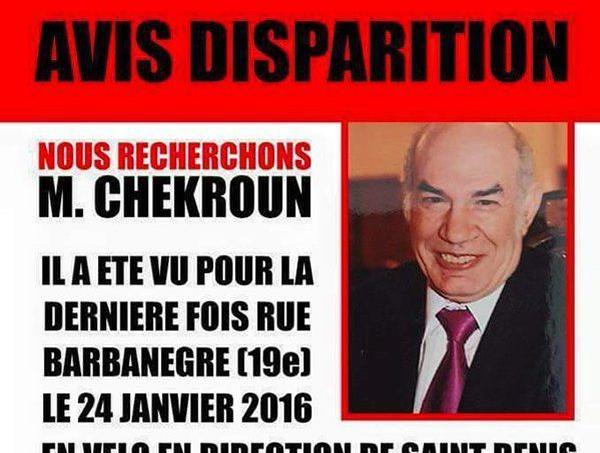 Moïse Chekroun a disparu dimanche 24 janvier vers 21h30. Il est toujours recherché. Capture d'écran de l'affiche diffusée par la famille.