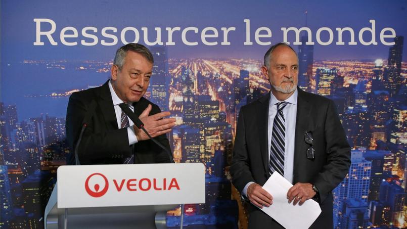 Antoine Frérot, PDG de Veolia, au côté de Bill Gallo, patron de Kurion.