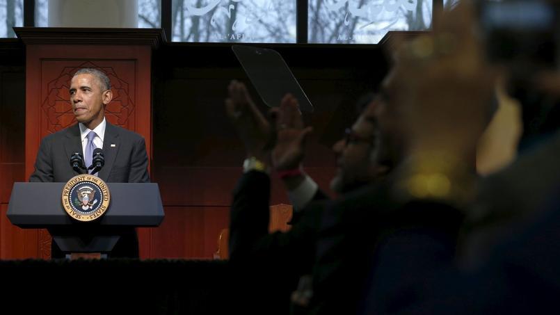 Barack Obama lors de son discours devant les membres de la Société islamique de Baltimore.