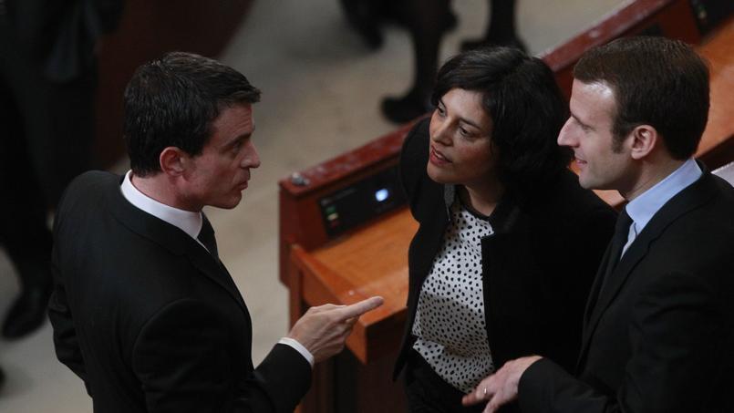 Manuel Valls, Myriam El Khomri et Emmanuel Macron, le 18 janvier dernier, au Conseil économique, social et environnemental (CESE).