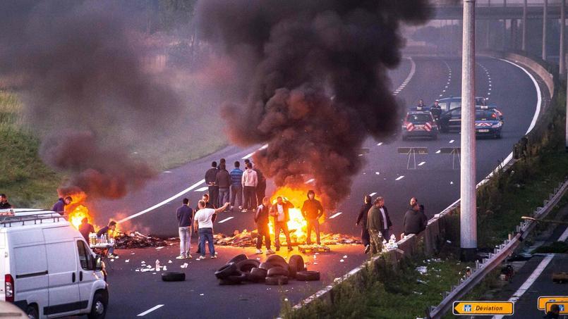 La partie de l'autoroute A1 bloquée en août par des gens du voyage.