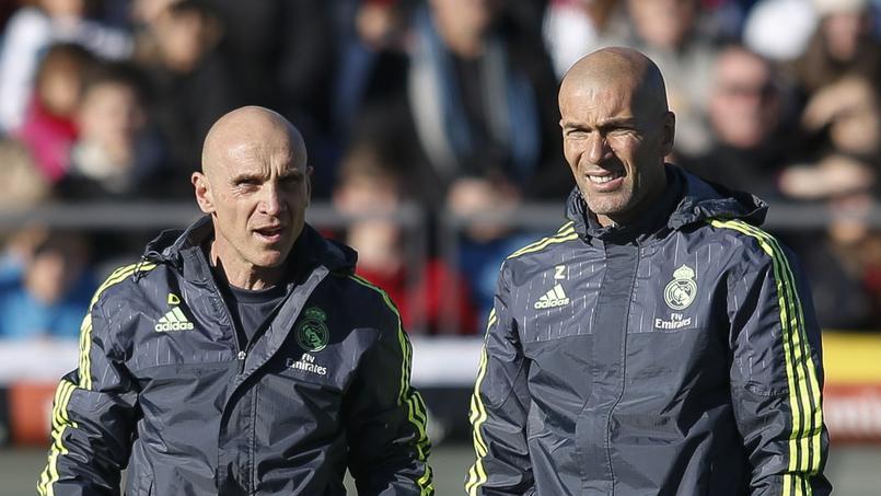 David Bettoni (à gauche) et Zinédine Zidane lors d'un entraînement du Real Madrid.
